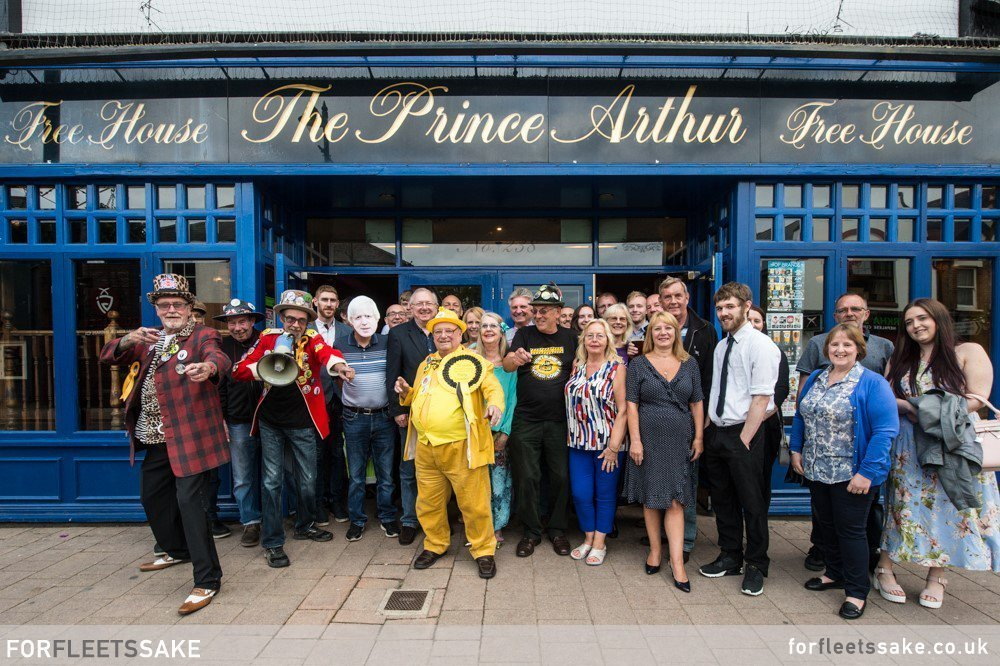 Alan Hope celebrates with friends and Loonies! Prince Arthur pub, Fleet Hampshire. 16th June 2019.
