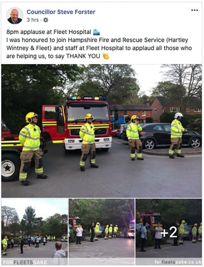 CLLR STEVE FORSTER FACEBOOK POST 23/04/20. Fleet Fire Station claps for the NHS Facebook post.
