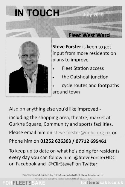 In Touch Leaflet, Fleet Ward West - Councillor Steve Forster - 2019