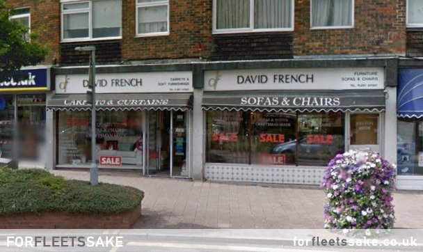 David French Furnishings, 250-252 Fleet Road, Fleet Hampshire, in the period where it occupied two shop fronts. It later reverted back to one. July 2015.
