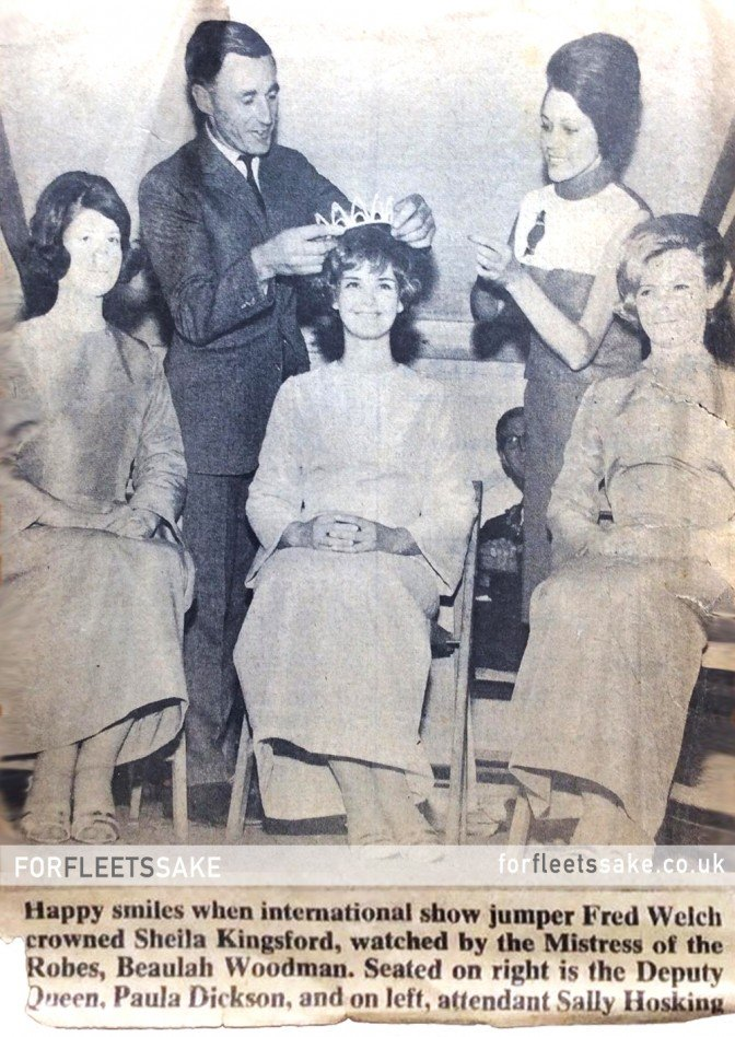 FLEET CARNIVAL 1966. The 1966 Carnival Queen, Sheila Kingsford is crowned by show jumper Fred Welch, photo also includes Beaulah Woodman, Paula Dickson and Sally Hoskins.