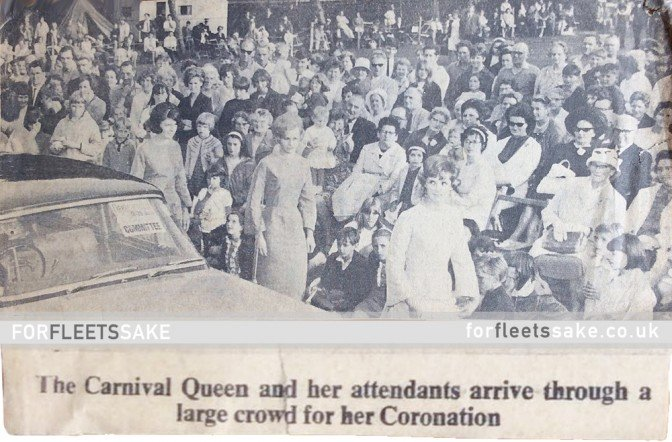Fleet and District Carnival 1966. Newspaper article showing Carnival Queen procession.
