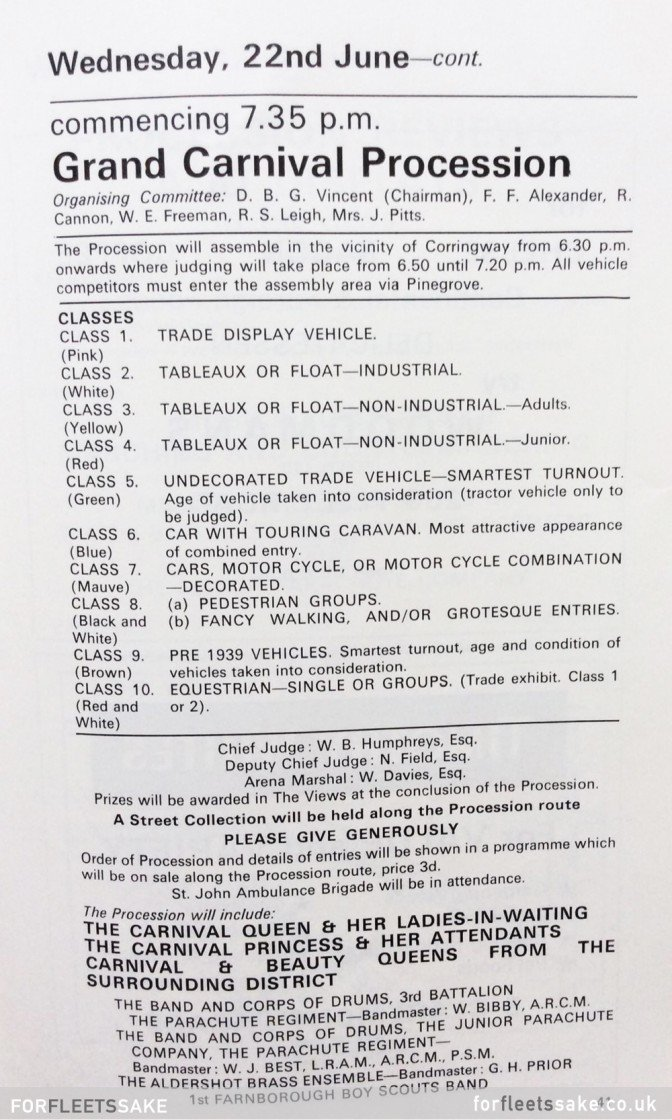 FLEET CARNIVAL 1966. Page from Fleet and District 1966 Carnival programme.