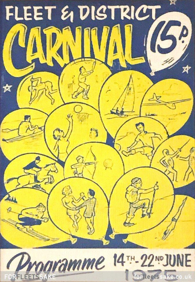 FLEET CARNIVAL PROGRAMME 1975. The Fleet and District Carnival programme cover for 1975. History of Fleet Hants Carnival.