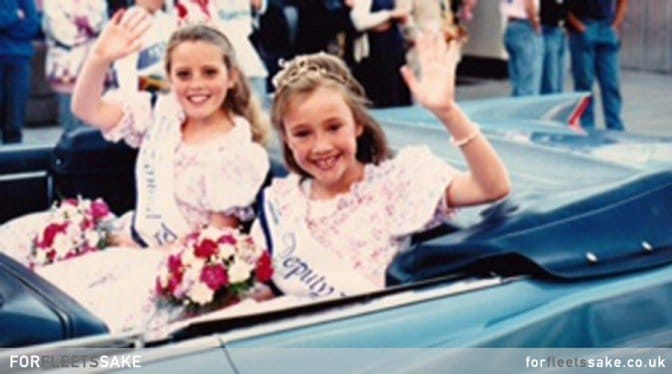 FLEET CARNIVAL 1994 - Fleet Carnival procession with Carnival Princess Melanie Carr (aged 8) and her Deputy Sophie Beecroft (aged 8).