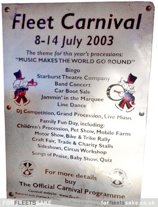 FLEET CARNIVAL FLYER- 2003. Fleet Carnival Flyer from 2003, showing Carnival theme and events.