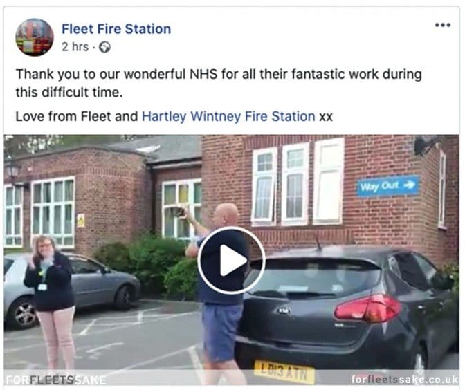 FLEET FIRE STATION FACEBOOK POST 23/04/20. Fleet Fire Station claps for the NHS Facebook post.