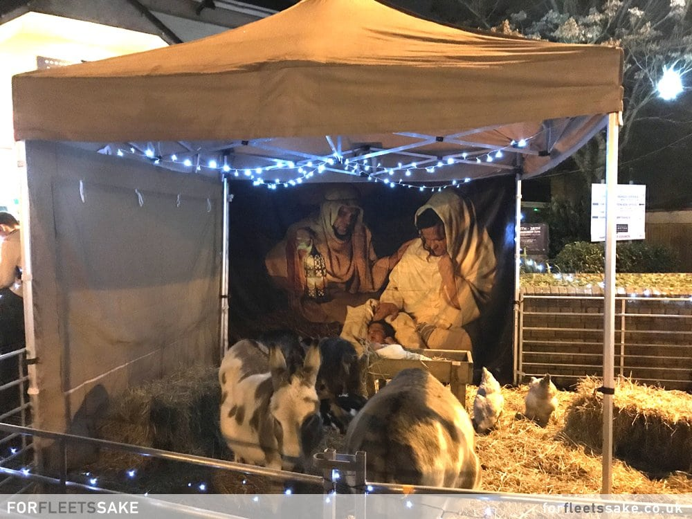 GURKHA SQUARE NATIVITY SCENE. Nativity stall with animals in Gurkha Square..