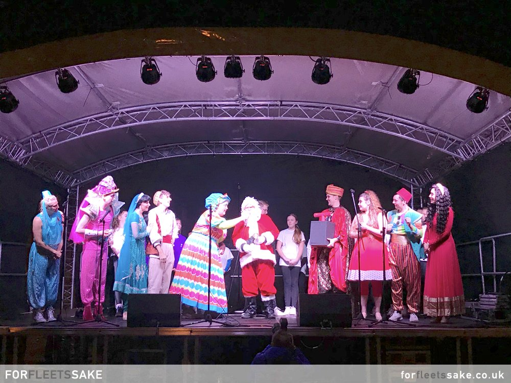 PANTOMIME STARS WITH SANTA IN GURKHA SQUARE. 2019 Pantomime stars with Santa on the main Gurkha Square stage.