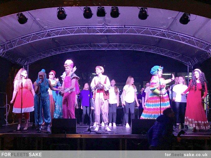 PANTOMIME STARS IN GURKHA SQUARE. 2019 Pantomime stars on the main Gurkha Square stage.
