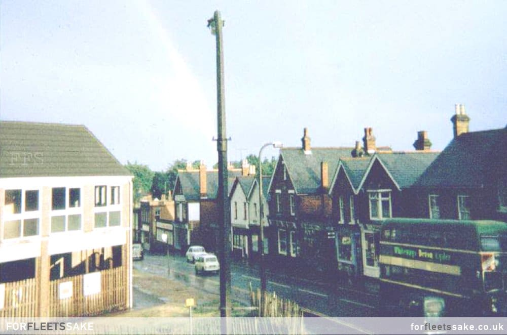 NEWLY BUILT SHOPS 1970. A view from the flat above 'Tivoli'. Dated circa 1970 it shows the newly built shop fronts opposite. History Fleet High Street.