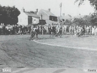 """POLICE STATION SITE SHOWN IN 1949. Pictured in 1949 is the """"Cycle Speedway"""", laid out in the Firs Meadows, the site of the Police Station built in 1967. Fleet Hants History."""