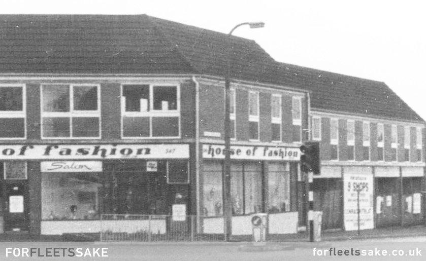 HOUSE OF FASHION AND EMPTY SHOPS - CIRCA 1971 House of Fashion, boutique and beauty salon, circa 1970. Fleet Hampshire. Photo credit: Lillian Elwyn Bull.