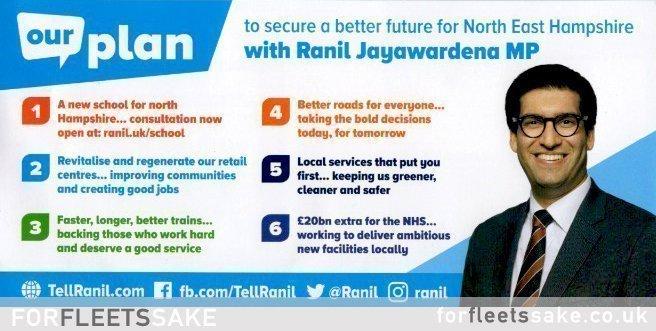 MP Ranil Jayawardena Postcard Leaflet 2019