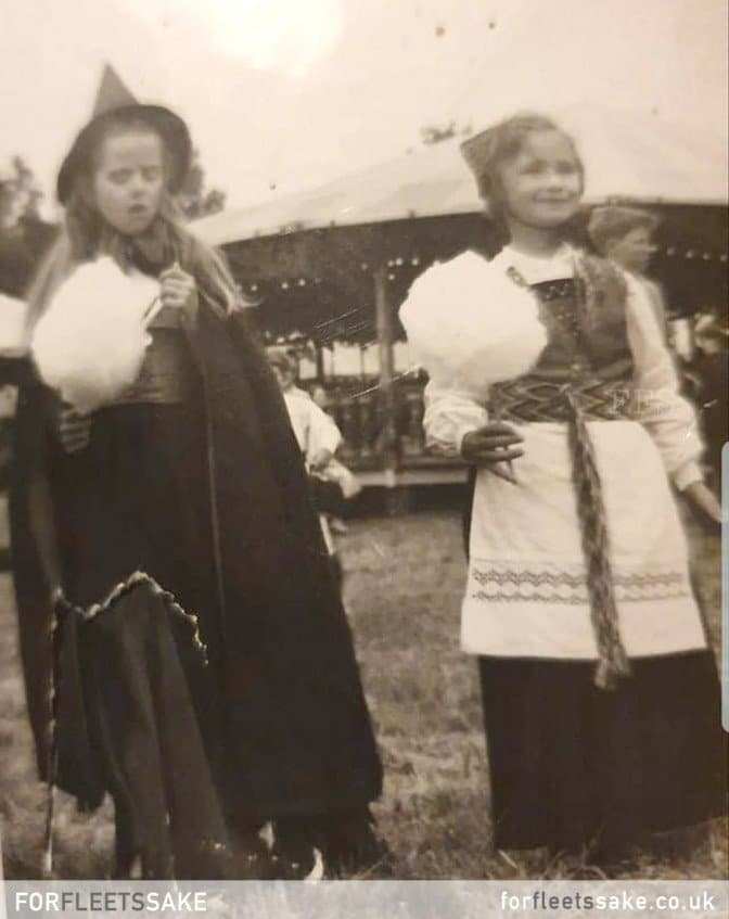 FLEET CARNIVAL 1962. Fleet Carnival Funfair at The Views. Karen Smith (aged 9) dressed as a witch and Patricia Elliot dressed as a Norwegian girl.