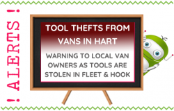 Tools Stolen from Vans in Hart