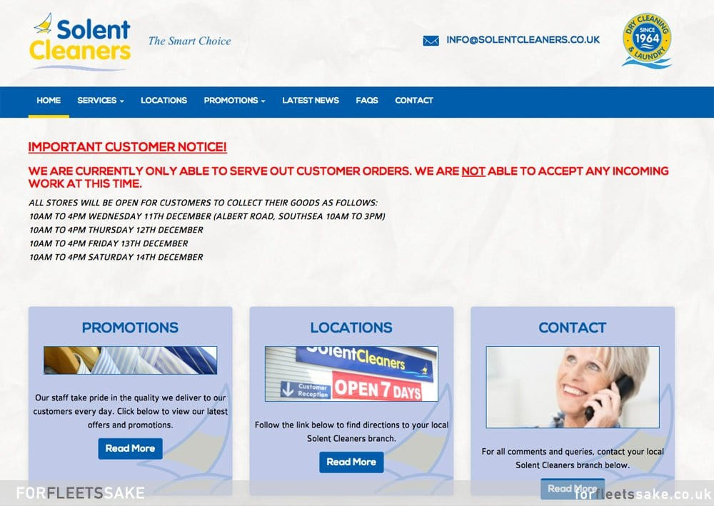 SOLENT CLEANERS WEBSITE 2019. Solent Cleaners website pages December 2019.