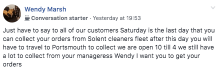 Manageress Wendy Marsh posts a closing down notice for Solent cleaners - December 2019.